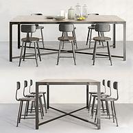 工业风餐厅桌椅组合3D模型3d模型