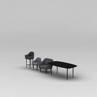 后现代餐厅餐桌椅组合3d模型