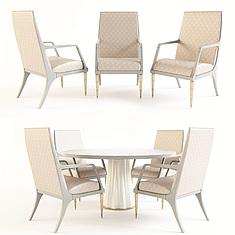 简欧餐厅圆形桌椅组合3D模型3d模型