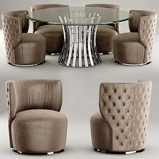 时尚咖啡厅桌椅组合3d模型