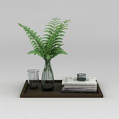 办公桌绿植花瓶水杯组合模型3d模型