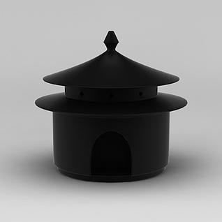 中式檀香炉3d模型