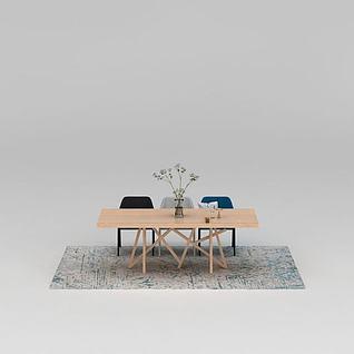 现代实木餐桌椅餐具组合3d模型