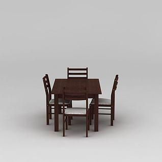 美式实木餐厅餐桌椅组合3d模型