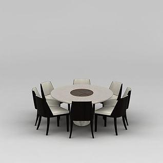 餐厅圆形餐桌餐椅组合3d模型
