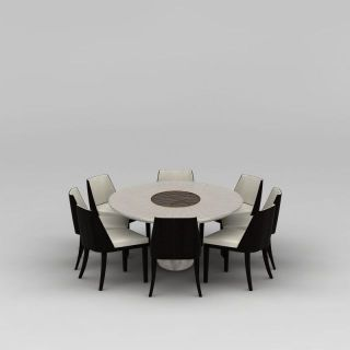 餐厅圆形餐桌<font class='myIsRed'>餐椅</font>组合3d模型