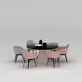 时尚简约圆形餐桌椅3d模型