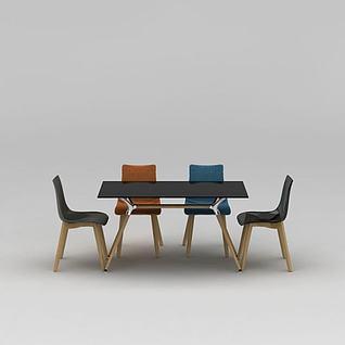 时尚简约长方形餐桌餐椅组合3d模型