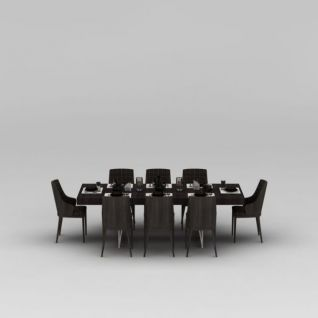 现代八人实木餐桌椅餐具组合3d模型