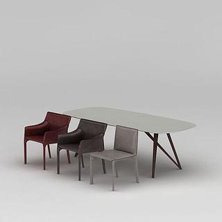 现代简约<font class='myIsRed'>餐桌</font>椅3d模型