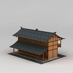 仿古日式建筑模型3d模型