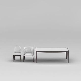 简约实木餐桌椅组合3d模型