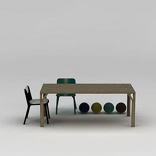 中式简约原木餐桌椅组合3d模型