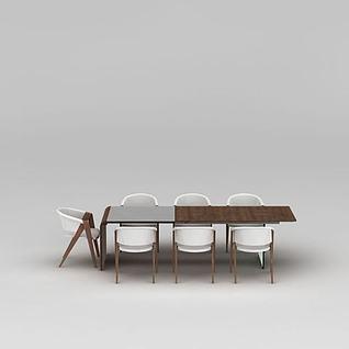 北欧实木餐桌椅组合3d模型