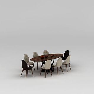 北欧八人座实木餐桌椅3d模型