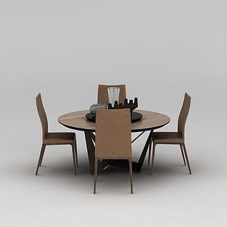 中式实木圆形餐桌椅3d模型