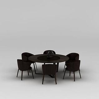 餐厅实木圆形餐桌餐椅3d模型
