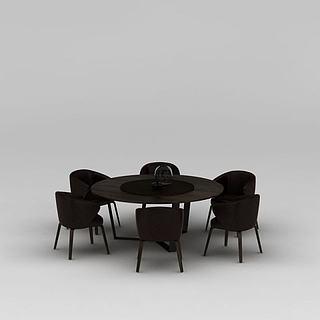 餐厅实木圆形餐桌<font class='myIsRed'>餐椅</font>3d模型
