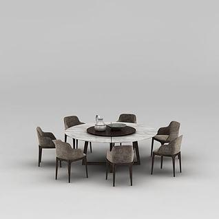 饭店大理石圆形餐桌椅组合3d模型