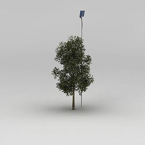 行道树和路灯模型3d模型