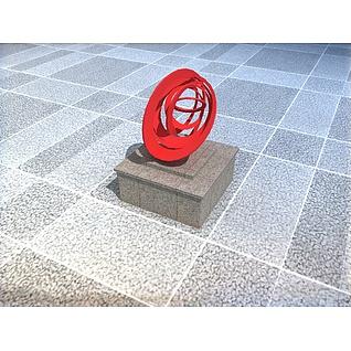 公园创意抽象雕塑3d模型