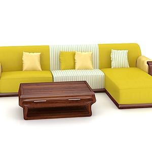 3d时尚黄色<font class='myIsRed'>转角沙发</font>?#30340;?#33590;几模型