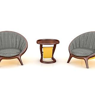 中式实木休闲椅休闲几3d模型
