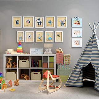 儿童房玩具储物柜相框墙组合3d模型