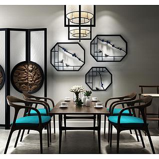 中式咖啡色实木餐桌椅组合3d模型3d模型