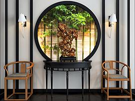 中式实木圈椅边几组合3d模型