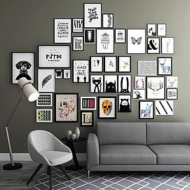 客厅沙发相框挂墙组合模型