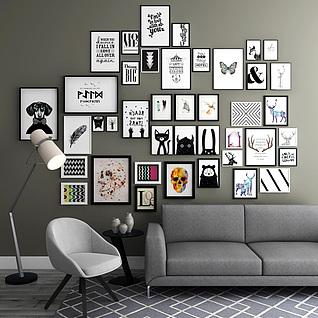 客厅沙发相框挂墙组合3d模型