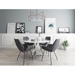 小型会议桌椅组合3d模型3d模型