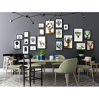 北欧时尚餐桌椅相框墙组合3d模型