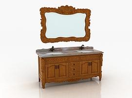 欧式实木雕花仿古浴室柜模型