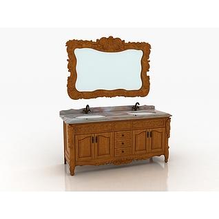 欧式实木雕花仿古浴室柜3d模型