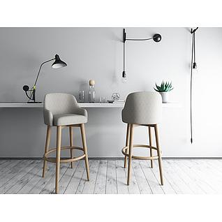 北欧灰色实木吧台椅3d模型