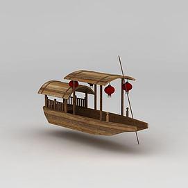 挂灯笼古代游船模型