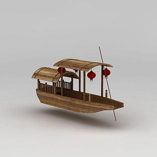 挂灯笼古代游船3d模型