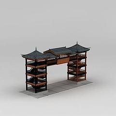 中式古建筑门楼模型3d模型