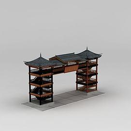 3d中式<font class='myIsRed'>古建筑</font>门楼模型