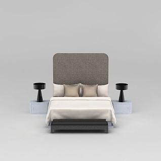 现代舒适亚麻色双人床3d模型
