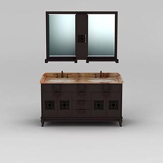 新中式双盆浴室柜3d模型