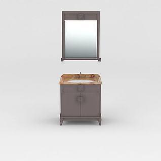 新中式实木浴室柜3d模型