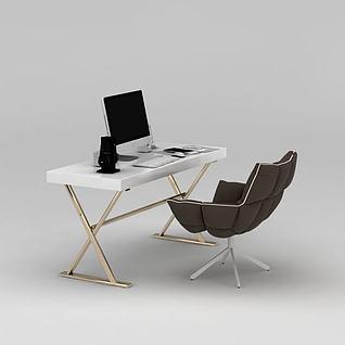 单人办公桌椅电脑组合3d模型