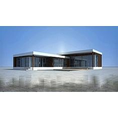 现代单层小别墅3D模型3d模型