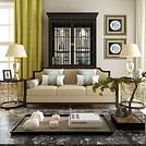 新中式客厅沙发边几组合模型