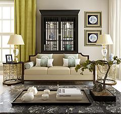 新中式客厅沙发边几组合模型3d模型