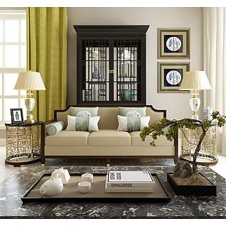 新中式客厅沙发边几组合3d模型3d模型