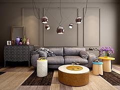 灰色休闲沙发茶几吊灯组合模型3d模型